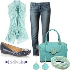 """aqua & denim"" by bellaviephotography on Polyvore"