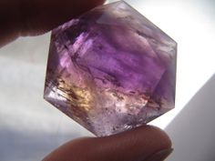 Amethyst (Ametrine) polished 6-side faceted gemstone specimen, medium to dark purple w/ citrine band, new age healing stone, meditation