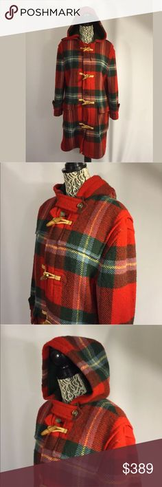 RALPH LAUREN Tartan Plaid Duffle Toggle Coat XL RALPH LAUREN Rare Vintage Red Tartan Plaid Wool Toggle Duffle Coat w/Wood & Raffia Toggles. Is a Mens but could be easily worn by Woman as well. Mens Small Woman's Large