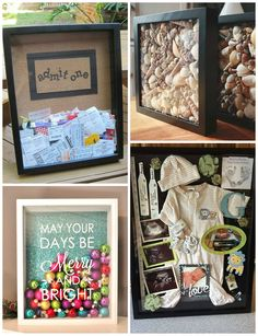 Movie Ticket Shadow Box: Such a great keepsake to throw all your ticket stubs in to remember. (Made by CraftyMeCreations) Seashell Shadow Box: Put seashells ins Shadow Box Picture Frames, Diy Shadow Box, Shadow Box Baby, Cute Crafts, Diy And Crafts, Kids Crafts, Easy Crafts, Craft Gifts, Diy Gifts
