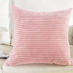 Amazon.com: Home Brilliant Supersoft Striped Velvet Corduroy Decorative Throw Toss Pillowcase Cushion Cover for Baby, Baby Pink, (45x45 cm, 18inch): Home & Kitchen