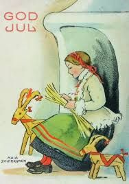 Making a straw goat. by, Maja Synnergren. Maja Synnergren was a Swedish illustrator of mainly children's books and postcards. Swedish Christmas, Scandinavian Christmas, Christmas Past, Christmas Holidays, Xmas, Christmas Greetings, Christmas Stuff, Vintage Christmas Cards, Vintage Cards