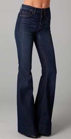 high-waisted, 70's style flare denim