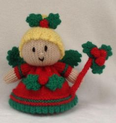 Holly the Christmas Fairy Choc Orange Cover / Toy Knitting pattern by Andrew Lucas Christmas Knitting Patterns, Knitting Patterns Free, Crochet Patterns, Knitting Ideas, Bear Patterns, Crochet Ideas, Hand Knitting, Free Pattern, Sewing Patterns