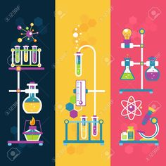 Buy Chemistry Design Banners by macrovector on GraphicRiver. Chemistry decorative vertical banners set with laboratory flasks tubes isolated vector illustration. Editable EPS and. Science Party, Mad Science, Science Fair, Science And Technology, Science Web, Chemistry Art, Organic Chemistry, Chemical Engineering, Binder Covers