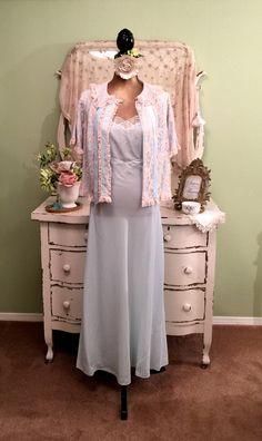 Long Light Blue Vintage Nightie Set w Romantic Bed Jacket ML-L Ladies  Vintage Nightwear b74058233