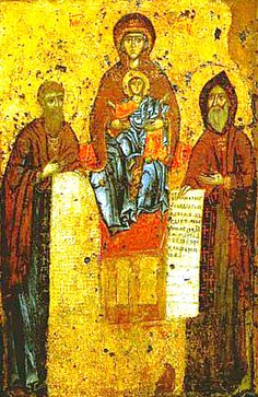 Written by Monk Alypii, the Svensk-Pechersk Icon of the MostHoly Mother of God (11th cent) depicts her enthroned with Child Jesus and Monks Theodosius (left) and Antonius of Pechersk. The icon was once moved to meet a blind prince who wanted to pray for his affliction. After the voyage, the priests couldn't find the icon -- miraculously, it stood atop a great oak. The prince prayed, received sight, and built a church there in honor of the Holy Dormition. The icon is wonderworking. (May 3)