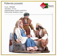 PIDIENDO POSADA. Figuras de belén/pesebre, de pasta cerámica policromada, de 19 cm. Autor José Luis Mayo Lebrija. Novedad 2014.