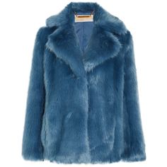 MICHAEL Michael Kors Faux fur jacket (6,380 MXN) ❤ liked on Polyvore featuring outerwear, jackets, coats, coats & jackets, blue faux fur jacket, blue jackets, michael michael kors, fake fur jacket and faux fur jacket