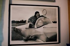 """A photo by Carolyn Russo taken in 1993, which shows Mary Edna in the cockpit of her grandfather's 1946 Ercoupe which still flies today."""