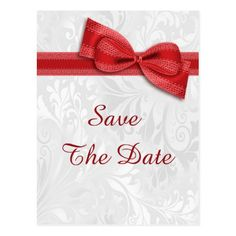 Shop Birthday Damask and Faux Bow Save The Date Announcement Postcard created by Sarah_Designs. Wedding Shower Invitations, Elegant Invitations, Zazzle Invitations, Red Birthday Party, 75th Birthday, Elegant Bridal Shower, White Damask, Save The Date Postcards, Bows