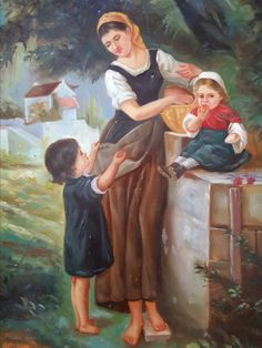 May I Have One Too - Antique Continental Oil on Board Painting, after Emile Munier Mother Art, Mother And Child, Munier, William Adolphe Bouguereau, Rose Girl, Shops, Orange Art, May I, Inspirational Wall Art