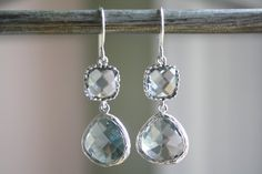 Dangle Earrings - Gray Grey Glass, Silver Wrapped - Bridesmaids Earrings - Bridal Earrings - Everyday