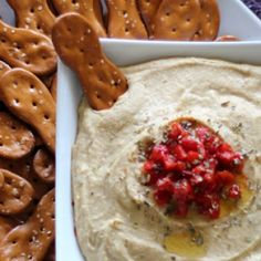 Hummus Dip  Make this #easy and #tasty dip for your next get together! And be sure to pick up a bag of new Pretzel Spoonz to pair with it!