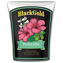 Black Gold Vermiculite-  One of the most versatile soil amendments. Blend it into garden or potting soil to keep it aerated and improve drainage, use it as a 'topper' for seedling germination, as a rooting medium for vegetative cuttings or for winter storage of bulbs and flower tubers. 8 quart bag.