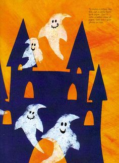 Children's Halloween Craft:  Sponge-Printed Ghosts