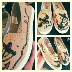 Sailor Jerry tattoo flash custom drawn shoes