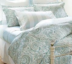 Painterly Paisley 400-Thread Count Duvet Cover & Sham - Porcelain Blue | Pottery Barn