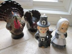 Thanksgiving Pilgrim candles. On the table every year.
