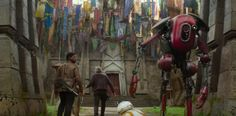 "2. Many familiar banners can be seen hanging outside Maz Kanata's outpost, including several of the podracers' flags from Star Wars: The Phantom Menace and the mythosaur skull from Boba Fett's uniform. | 30 Things You Definitely Missed In ""The Force Awakens"""