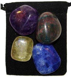 SPIRITUAL AWARENESS Tumbled Crystal Healing Set - 4 Gemstones w/Description & Pouch - Amethyst, Bloodstone, Calcite,Sodalite. $4.99, via Etsy.
