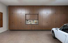 Fascinating Minimalist Wood Garage Cabinets With Dark S Sleek Marble Floor Antique White Car Shiny Ceiling Lights