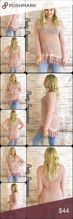NWT Pink & Lace Trim Open Stitch Spring Knit Description Coming Soon • lace embellished trim Pretty Persuasions Sweaters