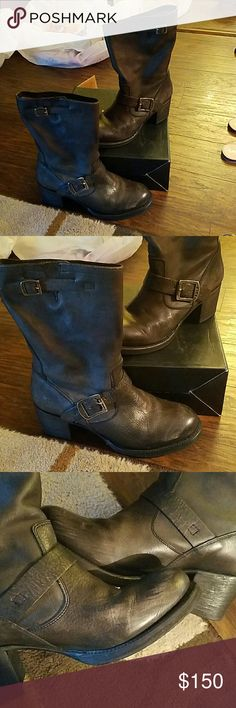 Frye Vera Short Grey Leather Boots Frye Vera Short Boots. Grey Leather. Size 9B Few minor scuff marks in front. See second pic. Besides that excellent condition. Clean Frye Shoes Combat & Moto Boots