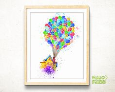 Pixar Up watercolor art print poster – Disney Up print - Flying House poster - Balloon House art - Nursery wall art – Home Decor - mf371 by MarcoFriend on Etsy