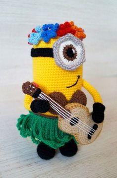"Crochet Amigurumi Ideas Crochet Hawaiian Minion Amigurumi - Free English Pattern - Introducing another crochet toy - the hero of popular cartoons ""Despicable Me"" and ""Minions""! Little yellow gu Knit Or Crochet, Cute Crochet, Crochet Crafts, Crochet Dolls, Crochet Projects, Crochet Granny, Minion Crochet Patterns, Amigurumi Patterns, Amigurumi Doll"