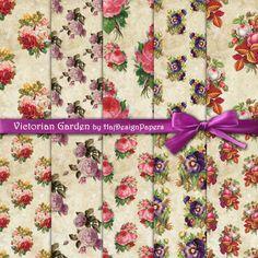 Victorian Garden - Instant Download, Digital Collage Sheet - Digital Paper - Decoupage Paper - Scrapbook Paper, Floral Paper, Vintage Paper