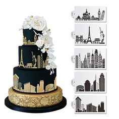 5 PC Monuments and Major City Skylines (Eiffel Tower, Statue of Liberty, Rome, Empire State Building, New York) Wedding Cake Stencil Set - Custom Stencils from Bakell - Bakell Nyc Cake, City Cake, Wedding Cake Designs, Wedding Cakes, Double Layer Cake, Cake Stencil, Royal Icing Decorations, Cake Decorating Supplies, Novelty Cakes