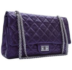 162170450947 Chanel 2.55 Reissue Classic Jumbo Double Flap Purple Leather Shoulder Bag  34% off retail