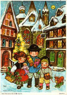 Illustrated by Anita Rahlwes, Christmas Art, Vintage Christmas, Xmas, Color Inspiration, Joy, Advent Calendars, Romantic, Illustration, Cards