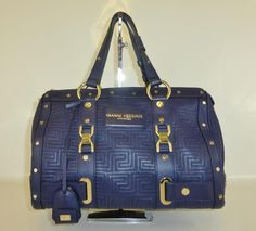 versace couture purple leather boston bag