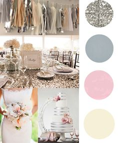 Metallic glitter Wedding with glitter table cloths! -d cake not dat cute should have been glitter! Wedding Wishes, Wedding Signs, Our Wedding, Dream Wedding, Wedding Beauty, Chic Wedding, Wedding Bells, Wedding Themes, Wedding Colors