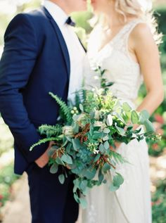 Fern and mountain blue gum eucalyptus: http://www.stylemepretty.com/2015/04/21/20-green-bouquets-for-earth-day/