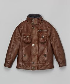 Brown Faux Leather Bomber Jacket - Toddler   Boys Handsome Boys c96cba7722fe4