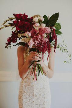 orchid and amaranthus bouquet / image: Heart & Colour