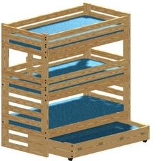 Triple Bunk Plan Extra-Tall with Trundle Bed and Hardware Kit for Bunk and Trundle to Make a Quadruple Bunk Bed that Sleeps Four (Wood NOT Included)