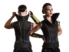 Black yellow grey high collar vest futuristic cyberpank make up ZOLNAR
