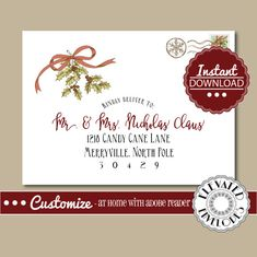 EDIT YOUR ENVELOPES AT HOME WITH ADOBE READER....ITS AS EASY AS CLICK, EDIT, AND PRINT!!  Make your Christmas cards stand out this year with this beautiful editable envelope template. Save time and money by using your own printer and envelopes. An affordable and stylish addition to your holiday cards!  **PLEASE NOTE: The matching return address (shown in listing image)is NOT included in this listing. You can purchase the matching return address file HERE…