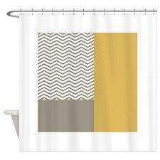 Grey Chevrons Yellow Colorblock Shower Curtain