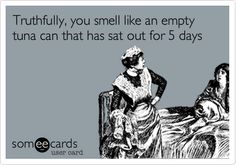 Truthfully, you smell like an empty tuna can that has sat out for 5 days.