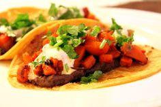 Sweet Potato and Black Bean Tacos with Zesty Yogurt Sauce