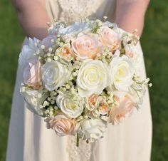 Peach and ivory rose bouquet with babies breath and small peach roses mixed in.  Silk flower bouquet by Holly's Wedding Flowers.  Holly's Flower Shoppe on Etsy.