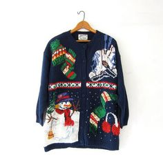 vintage ugly Christmas sweater / tacky christmas cardigan sweater / holiday party sweater / Snowmen Iceskates