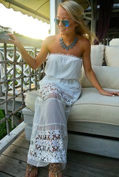 White Crochet Maxi Dress  // Antigua vacation outfit  // www.amybelievesinpink.com