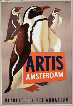 Vintage Poster  - Artis Zoo, Amsterdam, Holland