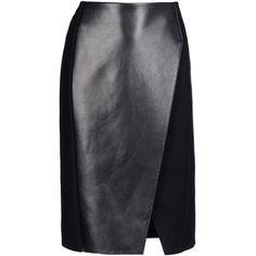 NEIL BARRETT Knee length skirt (5 365 UAH) ❤ liked on Polyvore featuring skirts, bottoms, black, knee high skirts, neil barrett, knee length skirts, front slit skirt and flannel skirt